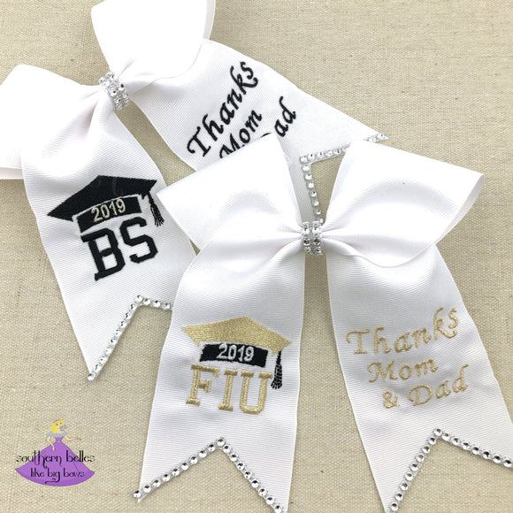Custom Graduation Cap Bow with personalized school or degree letters and thank you message for mom and dad