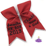 Red Graduation Cap Topper Bow Personalized with Custom Text and Bling