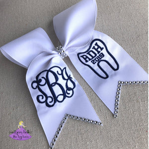 Dental Degree Graduation Cap Bow with Bling Option