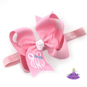 Personalized Easter Bunny Baby Headband with Monogram