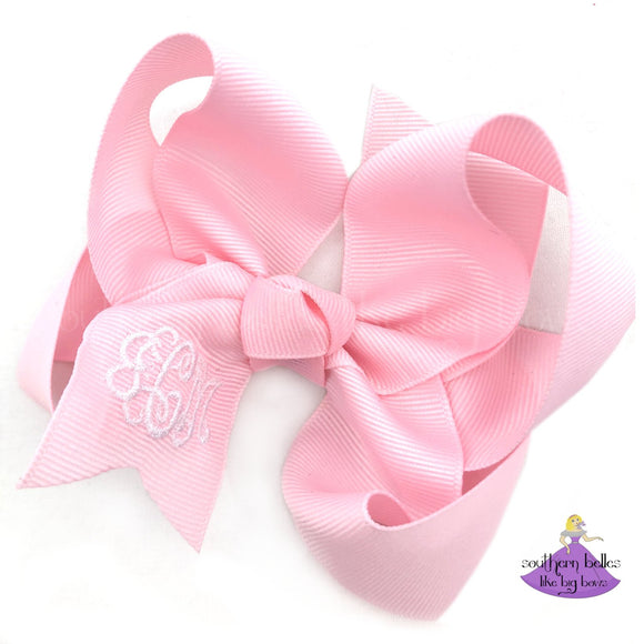 Baby Pink MonogramBow - Small to Medium