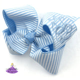 Monogram Seersucker Striped Hair Bow