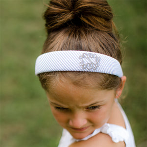 Personalized Grey Seersucker Hard Headband for Girl