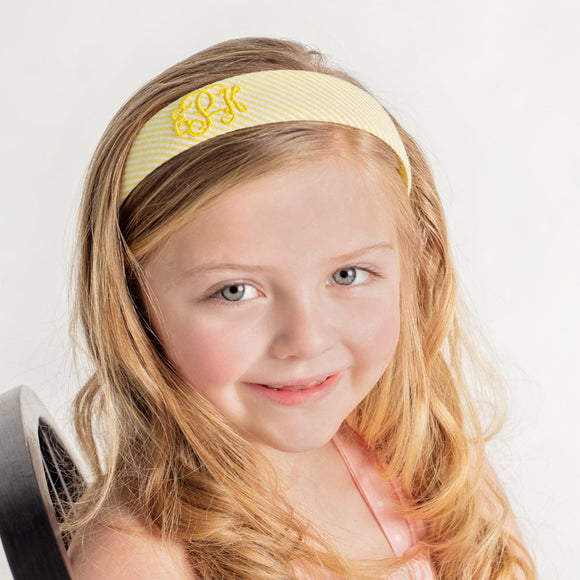 Personalized Yellow Seersucker Hard Headband for Girl