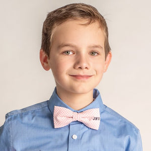 Pink Plaid Personalized Bow Tie with Monogram