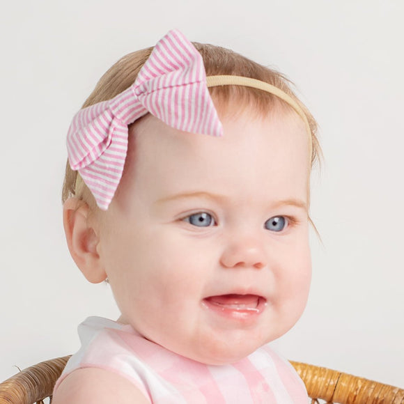 Pink Seersucker Baby Headband Bow