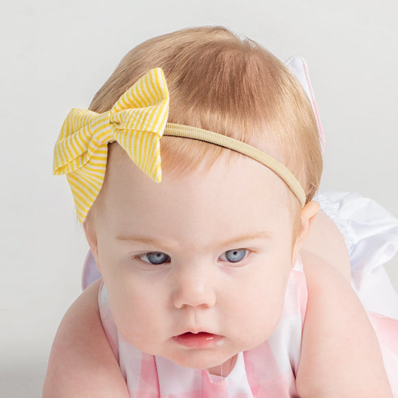 Yellow Seersucker Baby Headband Bow