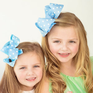 Blue Polka Dot Boutique Bow - Small