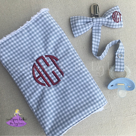 Personalized Gray Plaid Check Burp Cloth with Matching Bow Tie Pacifier Clip