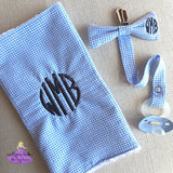 Personalized Blue Plaid Check Burp Cloth with Matching Bow Tie Pacifier Clip