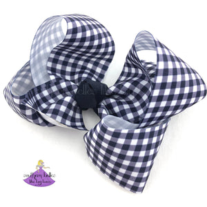 Navy Plaid Hair Bow