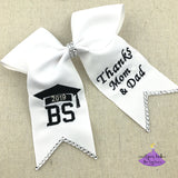 Personalized Graduation Cap Bow with Custom Letters & Thank You Message (Multiple Colors)