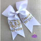 White with metallic gold thread Graduation Cap Topper Bow Personalized with Custom Text and Bling