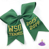 Green Tennis Graduation Cap Topper Bow Personalized with Custom Text and Bling