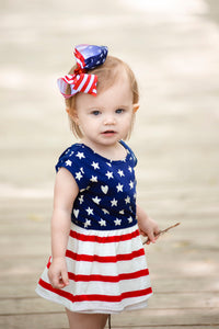 Big American Flag Hair Bow for the Fourth of July, Memorial Day, or Veterans Day