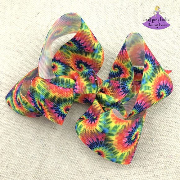Tie Dye Hair Bow- Small & Medium