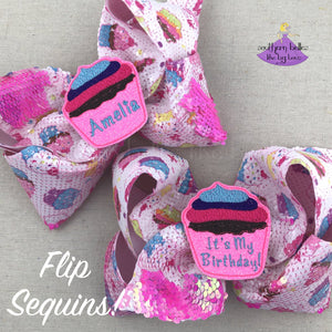 Personalized Big Cupcake Hair Bow with Flip Sequins