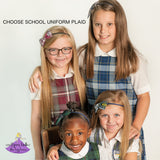 School Uniform Bow Headband - Plaid #80
