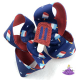 Red White and Blue Popsicle Boutique Bow for 4th of July