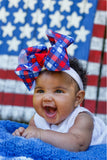 Big Patriotic Plaid Hair Bow for Baby Girl for 4th of July