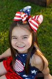 Glitter American Flag Bow for 4th of July, Memorial Day, Veterans Day