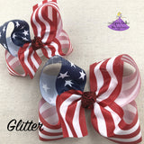 Glitter American Flag Boutique Bow in Medium and Large
