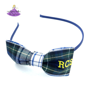 School Bow Headband Plaid #80