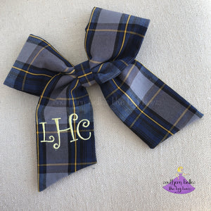 School Uniform Plaid Ponytail Bow in Royal Blue Black & Gold