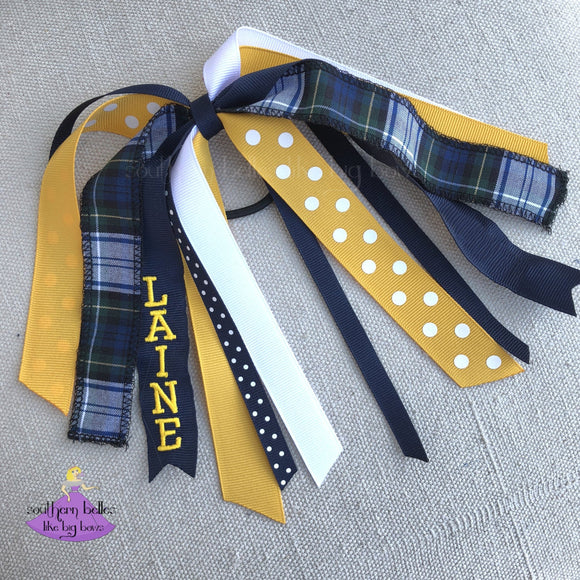 Plaid Uniform Hair Accessories Ponytail Holder Plaid #80 Personalized with Name