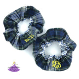 School Uniform Plaid Scrunchies - Navy White Green & Yellow #9