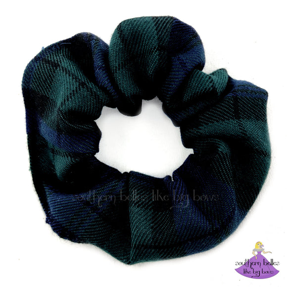 School Uniform Plaid Scrunchies in Navy Blue & Green