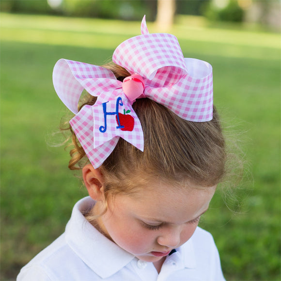 Pink Plaid Personalized Back to School Apple Bow with Initial Letter - Large & Jumbo