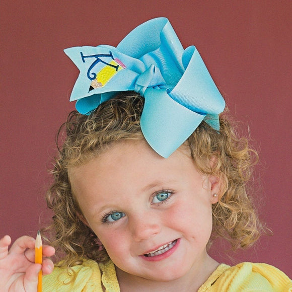 Big Blue Personalized Pencil School Bow - Large & Jumbo