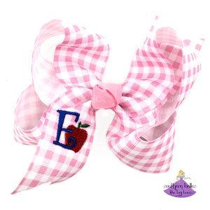 Pink Plaid Personalized Back to School Apple Bow with Initial Letter - Small & Medium