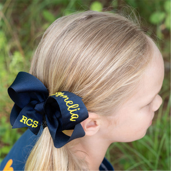 Personalized School Bow with School Letters and Name - Small & Medium