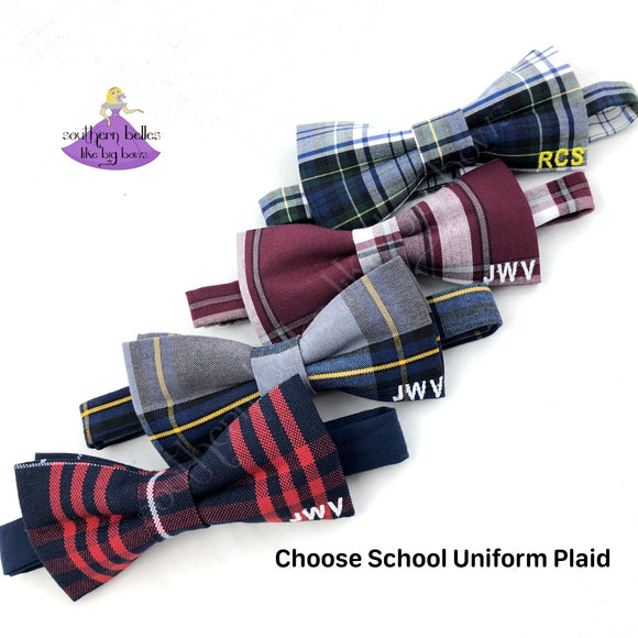 School Uniform Plaid Bow Ties with Personalized School Letters or Monogram in Plaid #80, #54, #57, #37