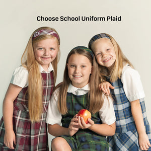 School Uniform Headbands in Plaid #54, #83, #57 Wide Hard with personalization options