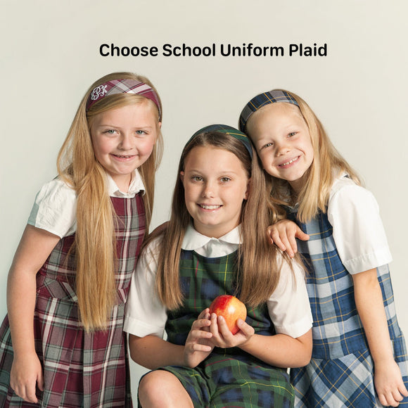 Uniform Plaid Hard Headband for School Uniforms
