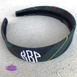 School Uniform Wide Hard Headband for Girl in Plaid #83 with Monogram
