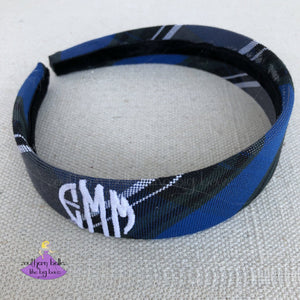 School Uniform Headband - Royal Black & White Plaid