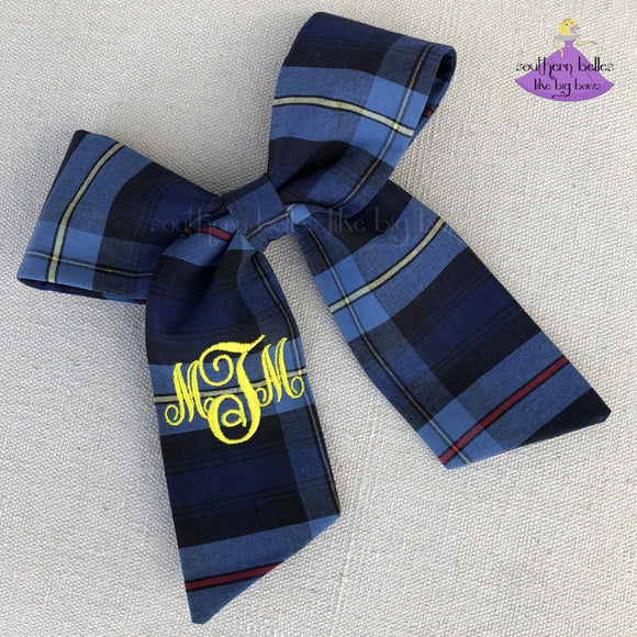 School Uniform Plaid Ponytail Bow in Navy Blue Red & Yellow