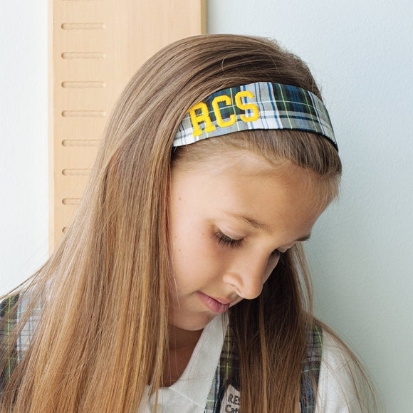School Uniform Soft Headband - Navy Blue White & Green Plaid