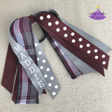 Personalized back to school ponytail holder ribbon streamers plaid #54