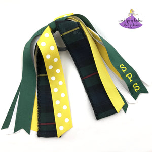 School Uniform Hair Accessory Ponytail Holder Green Red Yellow Plaid #83