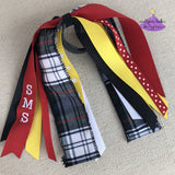 Ponytail Ribbon Streamers in School Uniform Black White Red & Yellow Plaid