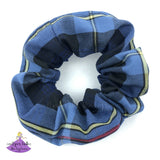 School Uniform Plaid Scrunchies in Navy Blue Red & Yellow