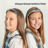 Plaid school uniform headbands thin in plaid #57 and #80 personalized with school letters for school store