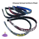 School Plaid Uniform Headbands in #80, #54, #41, #37, #83, #57 with personalization options for name or school letters