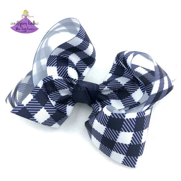 Navy Buffalo Plaid Bow - Large or Jumbo