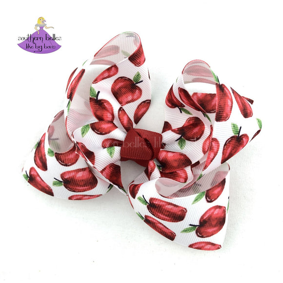 Back to School Apple Hair Bow - Small & Medium